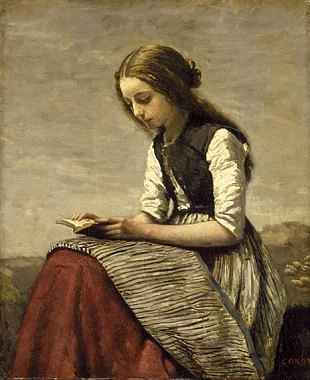 """Girl Reading"" -- by Jean-Baptiste-Camille Corot, born on this day in 1875"