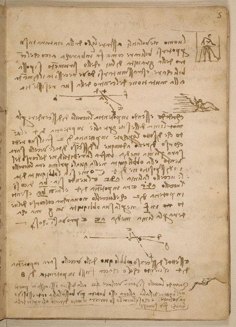 "Page from the ""Codex on the Flight of Birds"" by Leonardo Da Vinci"