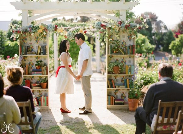What do you do when two book lovers get married?  Why have book cases all over, of course!