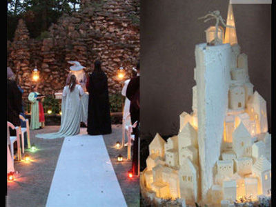 Lord of the Rings inspired wedding.  The cake is amazing.