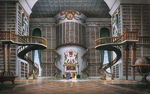 By far the best library ever to be featured in a cartoon.  Beauty and the Beast